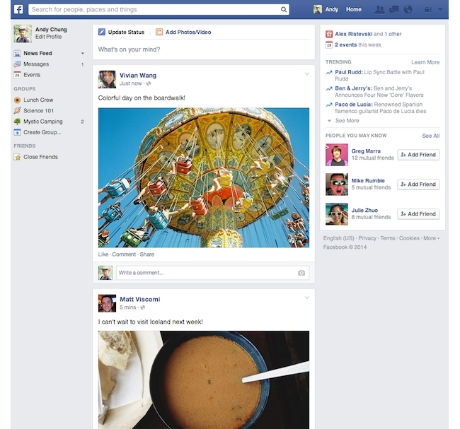 Nouveau Newsfeed Facebook