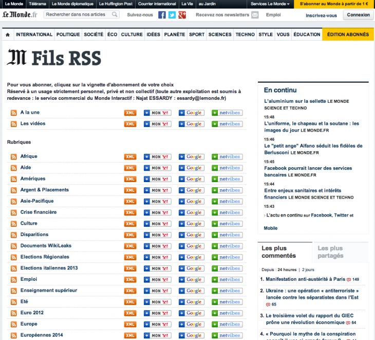 Flux RSS Le Monde