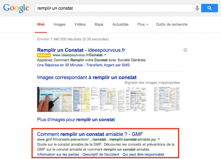 Recherche Google Remplir un constat