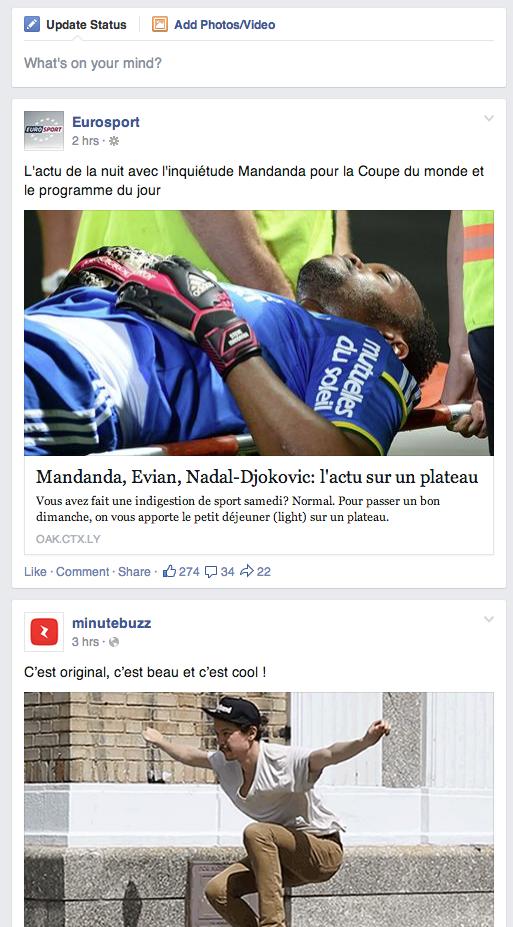 Flux d'actualités Facebook
