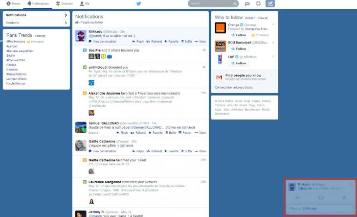 Notifications pop-up Twitter