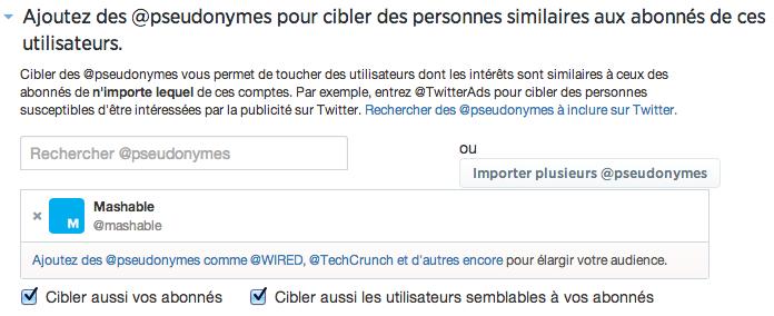 Exemple Twitter Ads - Intérêts & abonnés