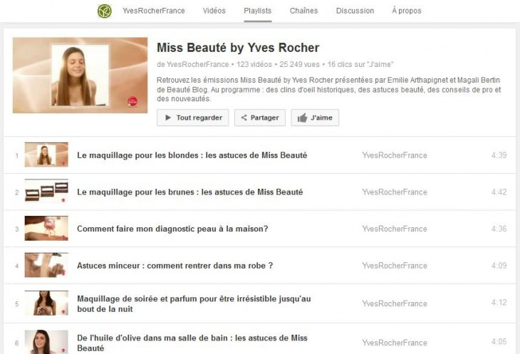 Playlist Yves Rocher