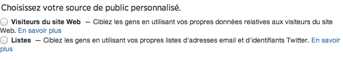 Publicité Twitter - Twitter Ads - Exemple de publics personalisés