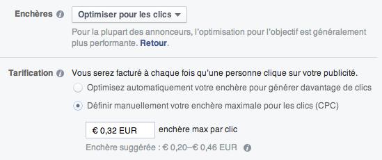 Consommation du budget Facebook