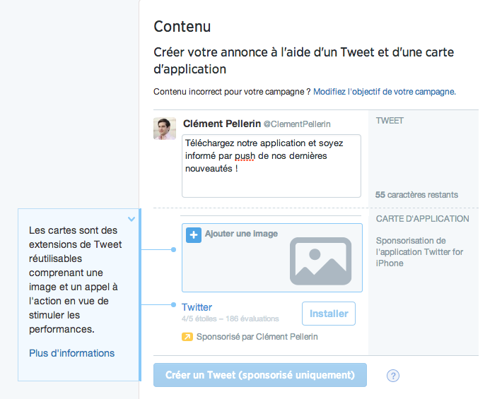 Installations d'application Twitter