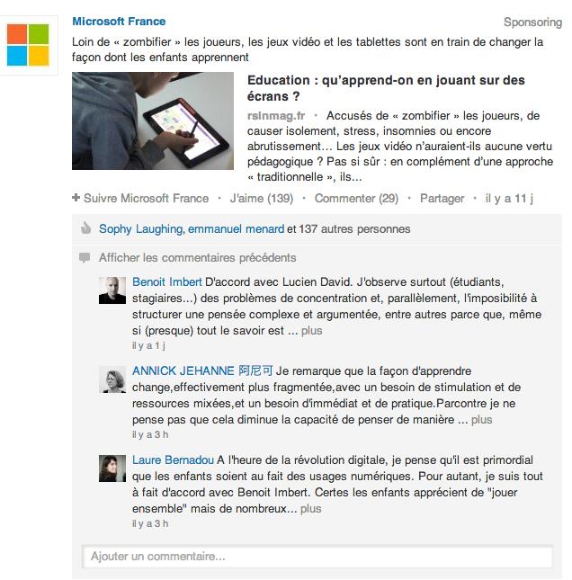 Microsoft France Sponsoring LinkedIn
