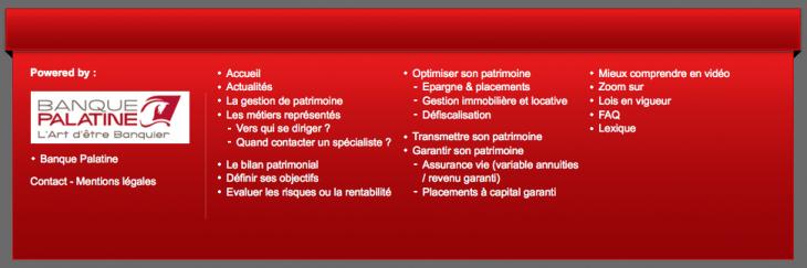 Footer Banque Palatine