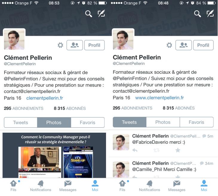 Nouveau profil Twitter iPhone