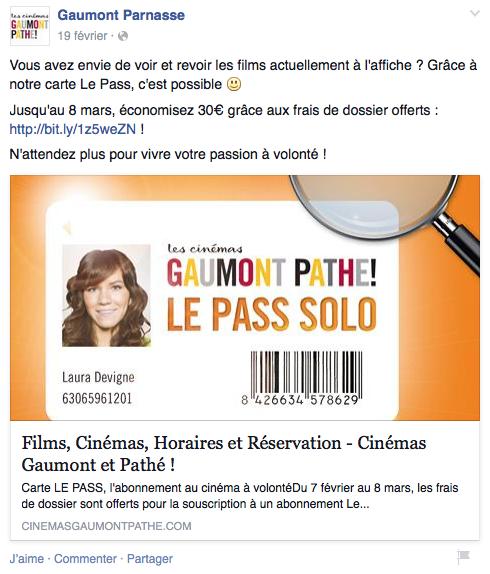 Gaumont Offre speciale - Formation reseaux sociaux