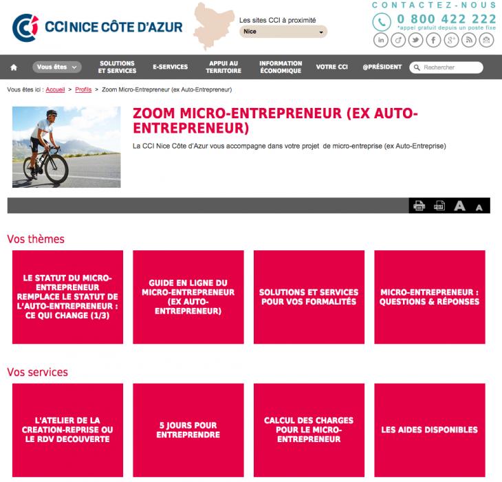 Services Micro Entreprise CCI Nice