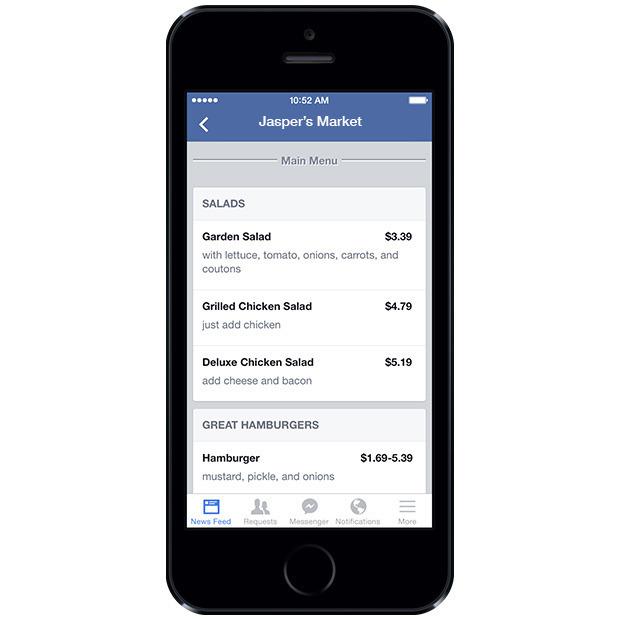 Facebook menus restaurants