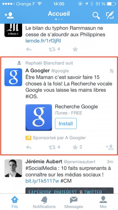 Twitter Ads - Publicité Twitter - Installation d'une application mobile