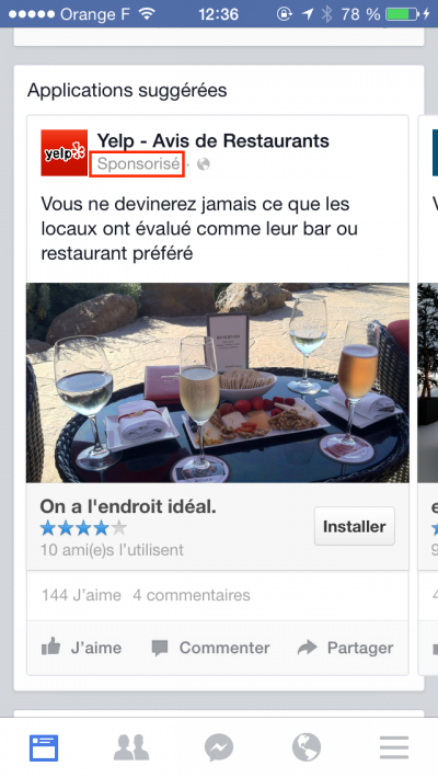 Sponsoriser une application sur Facebook