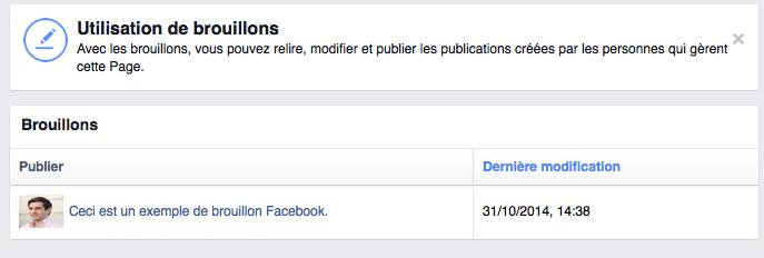 Brouillon Facebook
