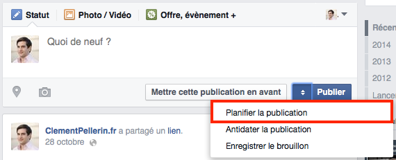 Planifier Facebook