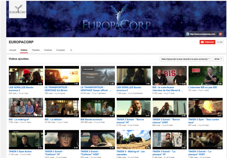 Europacorp Youtube - Formation reseaux sociaux