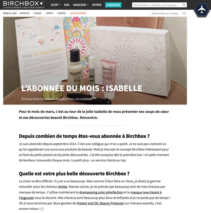 Birchbox - Abonne du mois - Formation reseaux sociaux