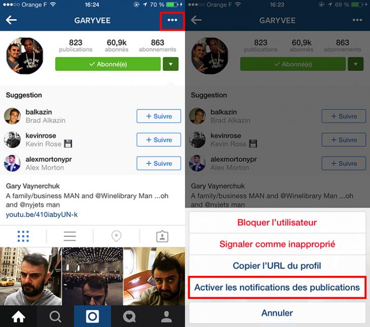 Notifications Instagram - Formation reseaux sociaux