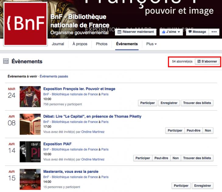 S'abonner Facebook 2 Evenements - Formation reseaux sociaux